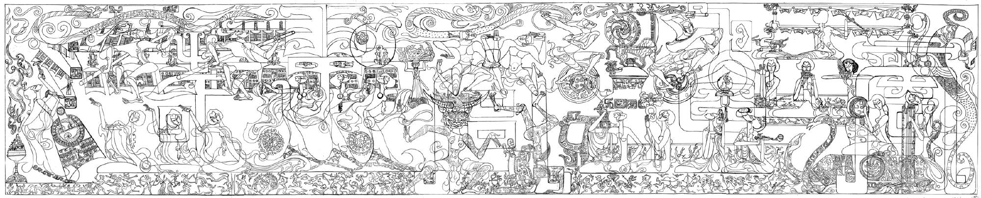 Line Art Mural : Magnolia editions hung liu at mills college art museum