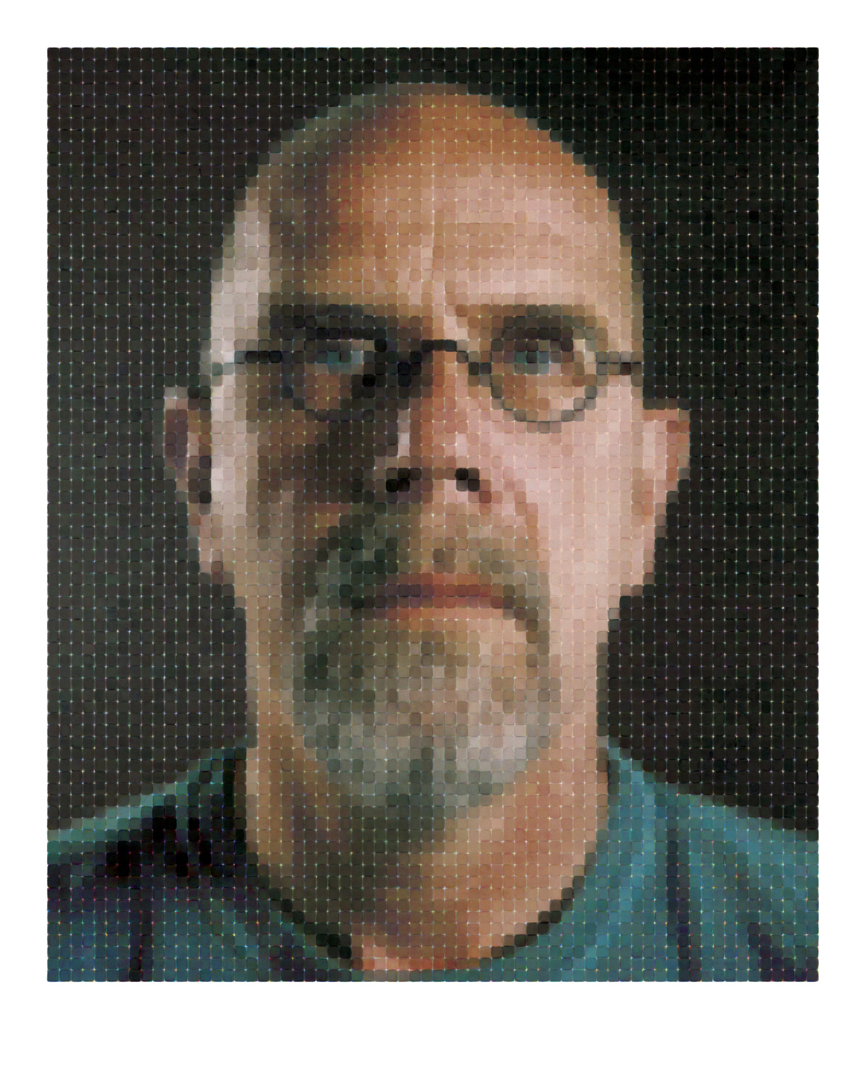 Chuck close self portrait 2012 archival watercolor pigment print 90 on hahnemühle rag paper state i 75 x 60 in state ii 80 x 66 in