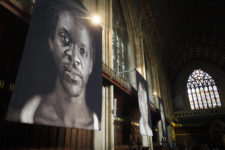 Exhibition of tapestries by Chuck Close at Ushaw College, Durham. Photo: Mark Pinder